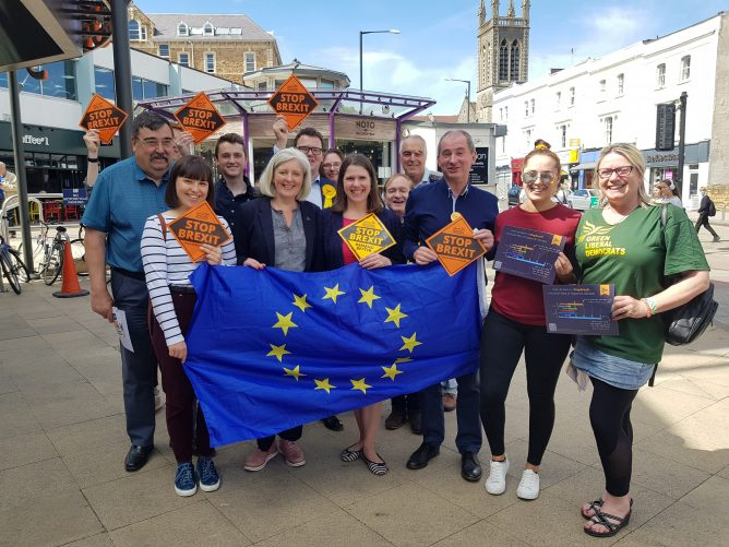 Jo Swinson with EU Flag